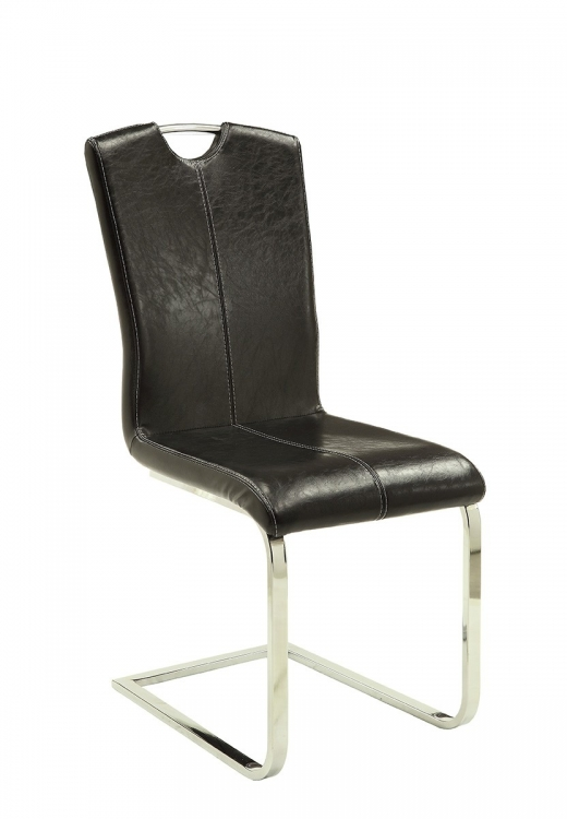 Bloomfield Side Chair - Chrome/Dark Brown Leatherette