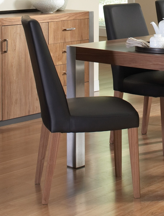 Faccini Side Chair - Medium Walnut/Black Leatherette