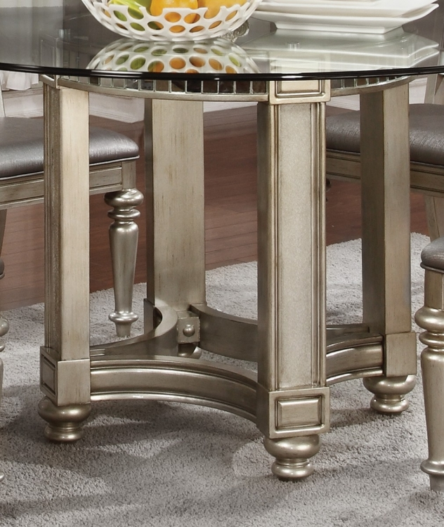 Danette Round Glass Top Dining Table - Metallic Platinum