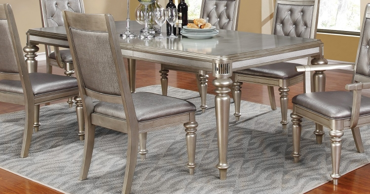 Danette Dining Table - Metallic Platinum