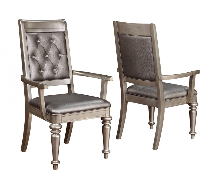Danette Arm Chair - Metallic Platinum/Metallic Leatherette