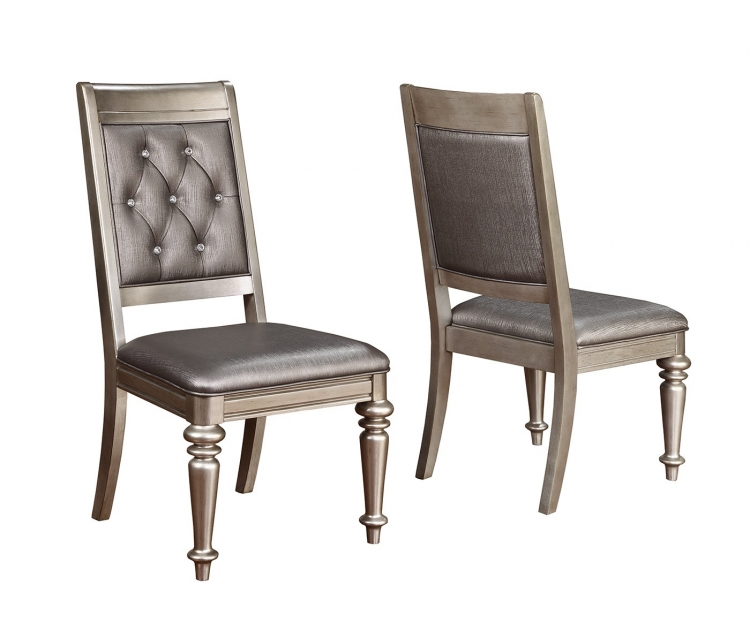 Danette Side Chair - Metallic Platinum/Metallic Leatherette