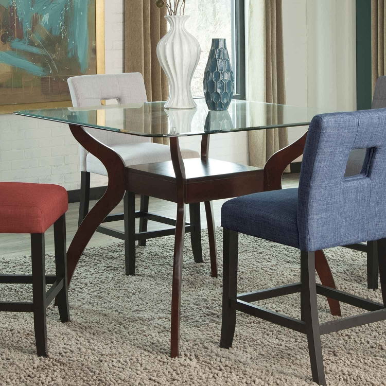 Andenne Square Glass Counter Height Dining Table - Cappuccino