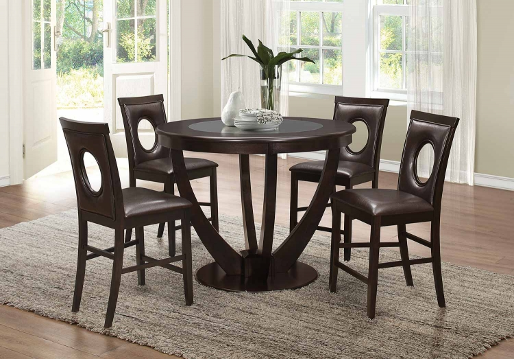 Stapleton Counter Height Round Glass Dining Set - Cappuccino
