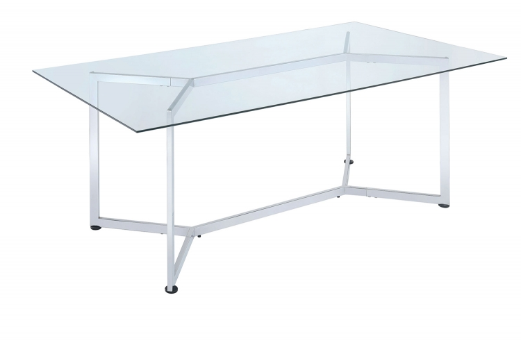 Augustin Rectangular Glass Dining Table - Chrome