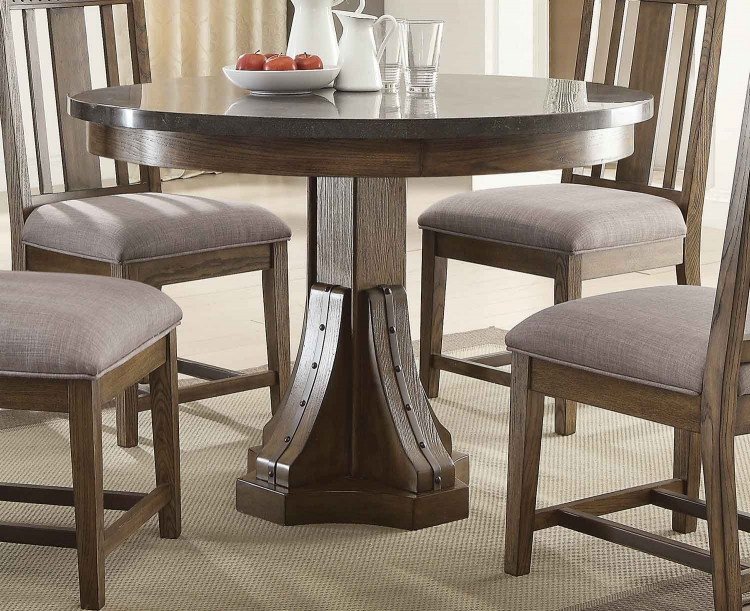 Willowbrook Round Dining Table - Rustic Ash/Gunmetal