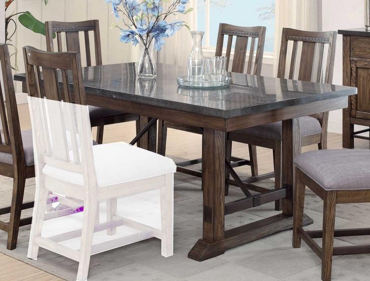 Willowbrook Rectangular Dining Table - Rustic Ash/Gunmetal