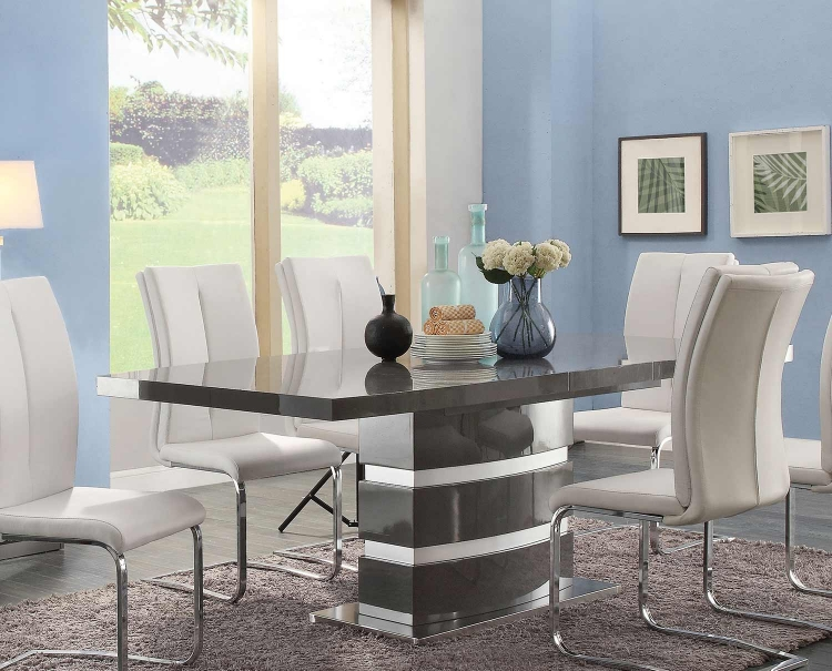 Lowry Dining Table with Leaf - High Gloss Taupe/Metal Chrome