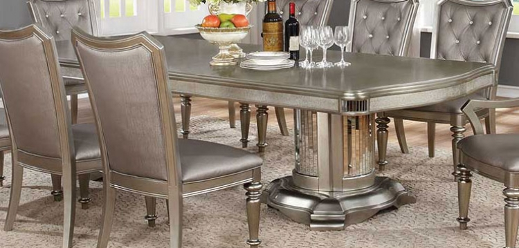 Danette Dining Table with Leaf - Metallic Platinum