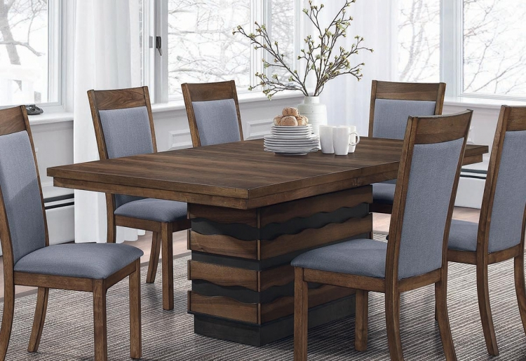 Octavia Rectangular Dining Table with Leaf - Coffee/Sappy Walnut