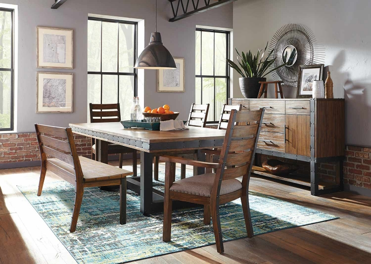 Atwater Dining Set with Bench - Vintage Bourbon