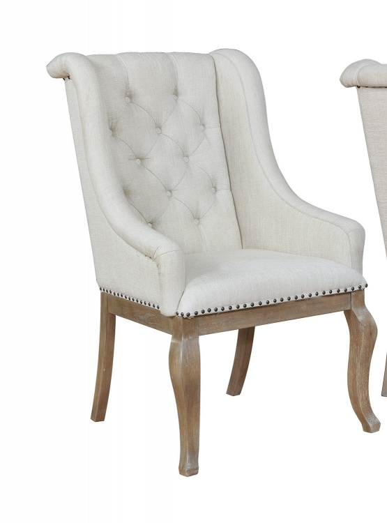 Glen Cove Arm Chair - Grey Fabric/Brown