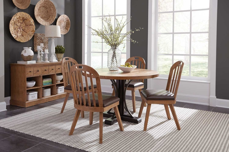 Bishop Round Dining Set - Drifted Pine/Dark Coffee