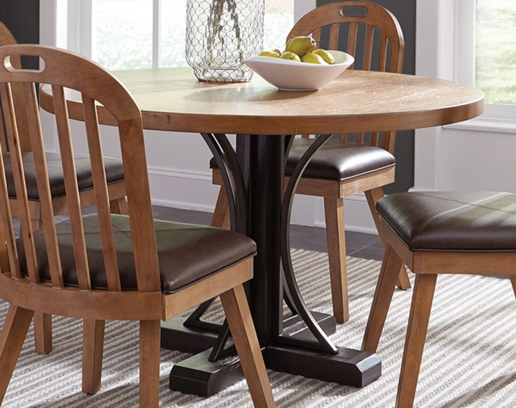 Bishop Round Dining Table - Drifted Pine/Dark Coffee