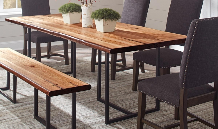 SuthersLive Edge Dining Table - Natural Honey/Black Metal
