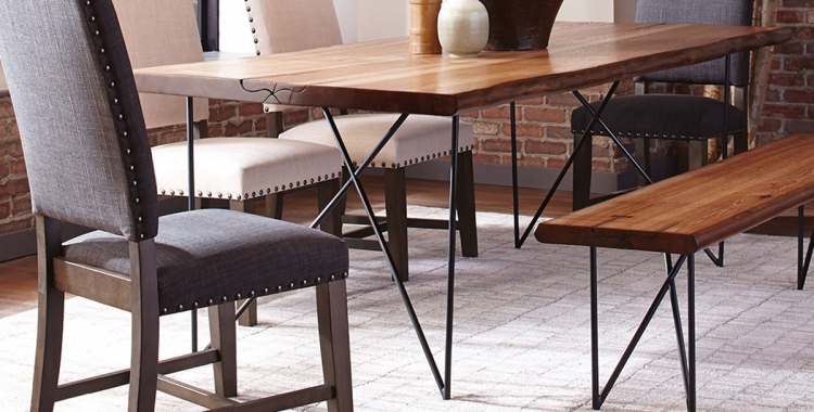 Sutherson Live Edge Dining Table - Natural Honey/Gunmetal