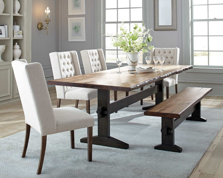 Burnham Live Edge Dining Set - Natural Honey/Espresso