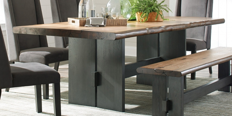 Marquette Live Edge Dining Table - Natural Honey/Charcoal