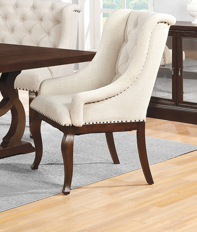 Glen Cove Arm Chair - Antique Java/Cream Fabric