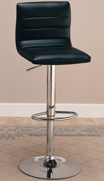 120344 29 Inch Upholstered Bar Chair with Adjustable Height - Black - Coaster