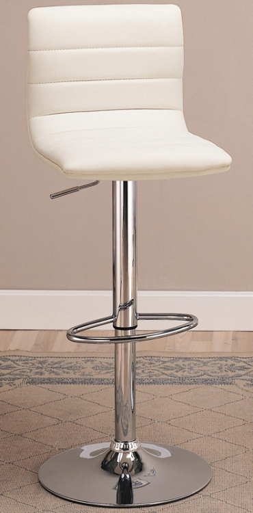 120345 29 Inch Upholstered Bar Chair with Adjustable Height - White