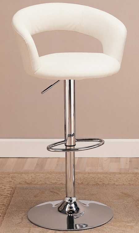 120347 29 Inch Adjustable Height Barstool - White