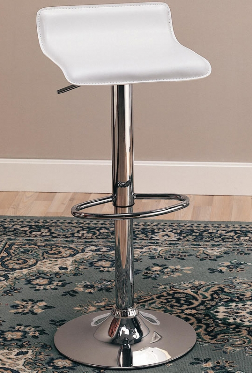 120391 29 Inch Adjustable Height Barstool - White