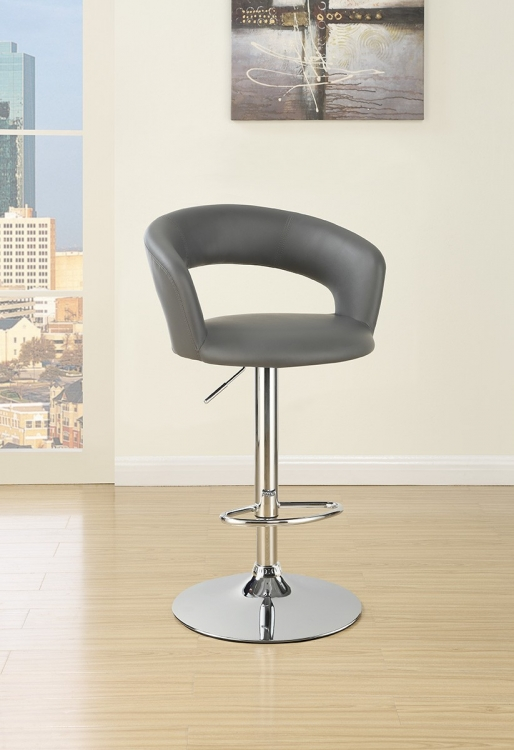 120397 Adjustable Bar Stool - Chrome/Grey
