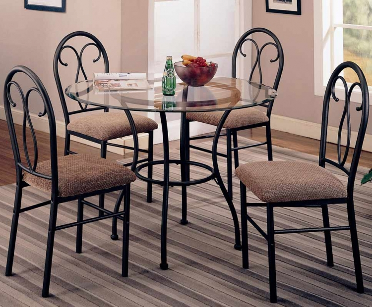 Odelia 5 Piece Round Glass Dining Set