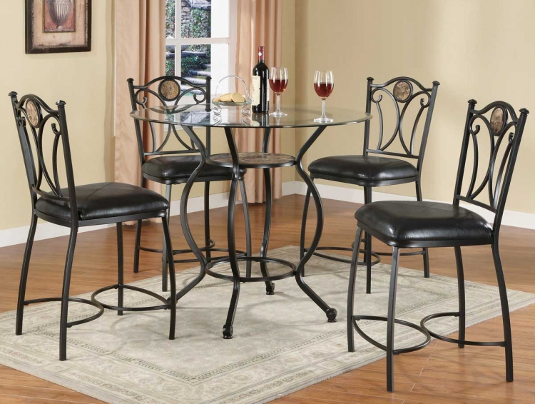 120621 Glass Top Counter Height Dining Set