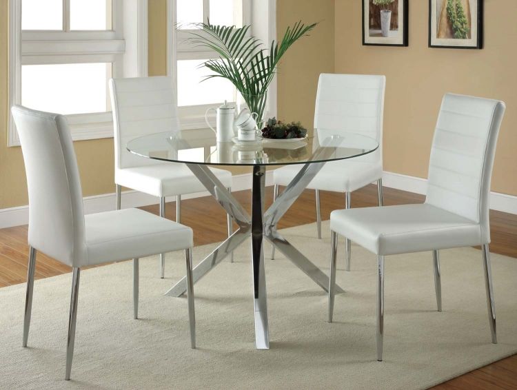 Vance Round Glass Dining Set - White Chair