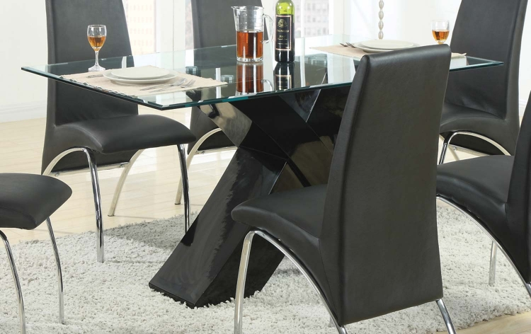 Ophelia X-Base Glass Dining Table - Black