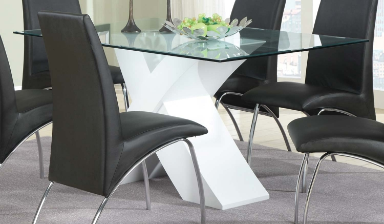 Ophelia X-Base Glass Dining Table - White