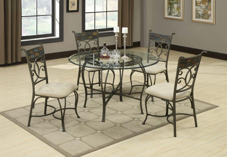 120831 Round Glass Top Dining Set
