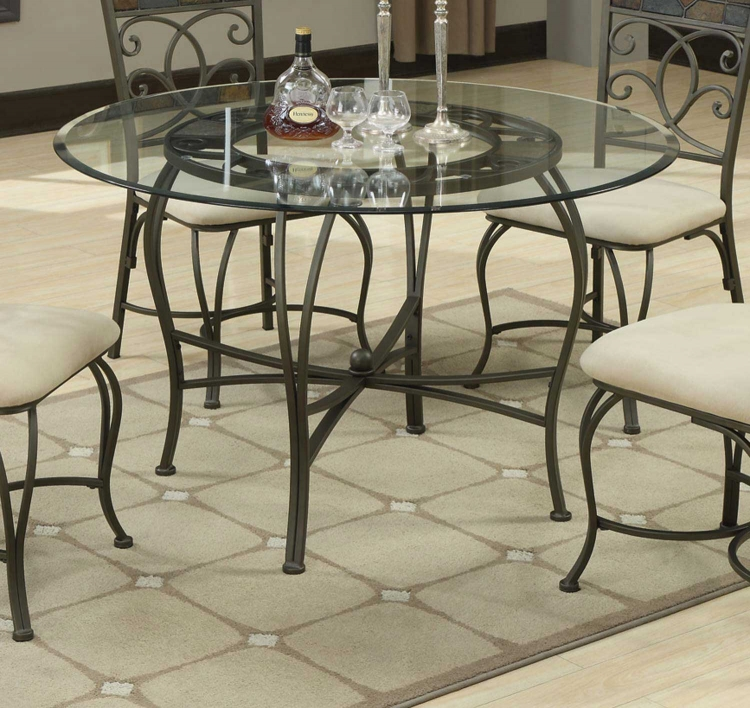 120831 Round Glass Top Dining Table