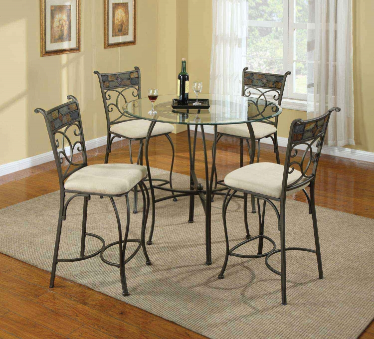 120838 Round Glass Top Counter Height Dining Set