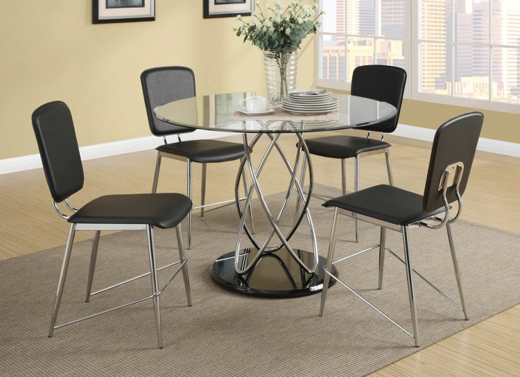 Ciccone Dining Set - Chrome/Glossy Black
