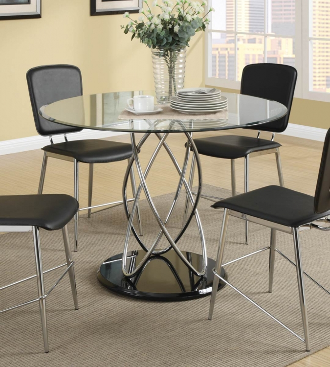 Ciccone Dining Table - Chrome/Glossy Black