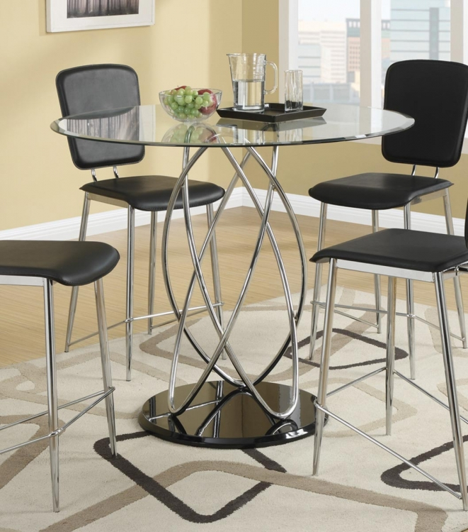 Ciccone Counter Height Table - Chrome/Glossy Black
