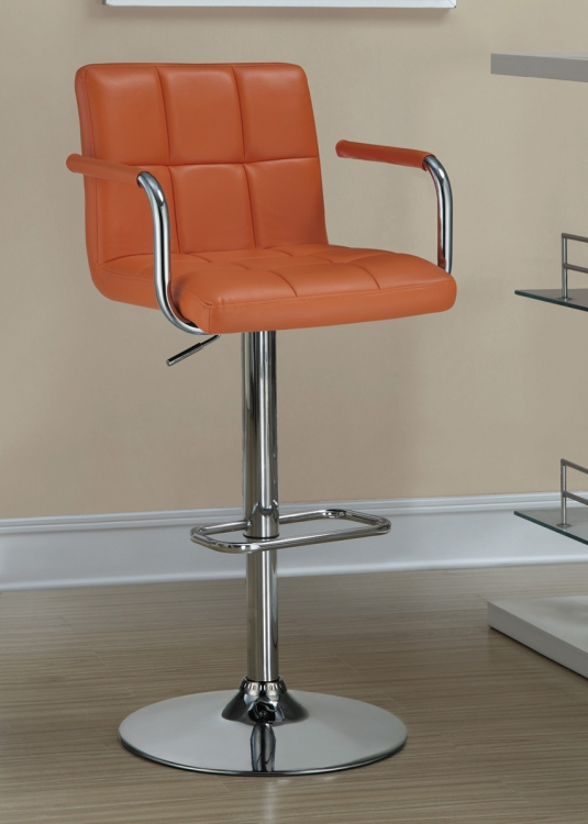 121098 Adjustable Bar Stool - Orange