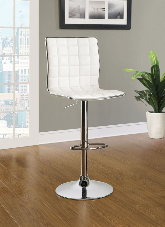 Waffle Adjustable Bar Stool - White