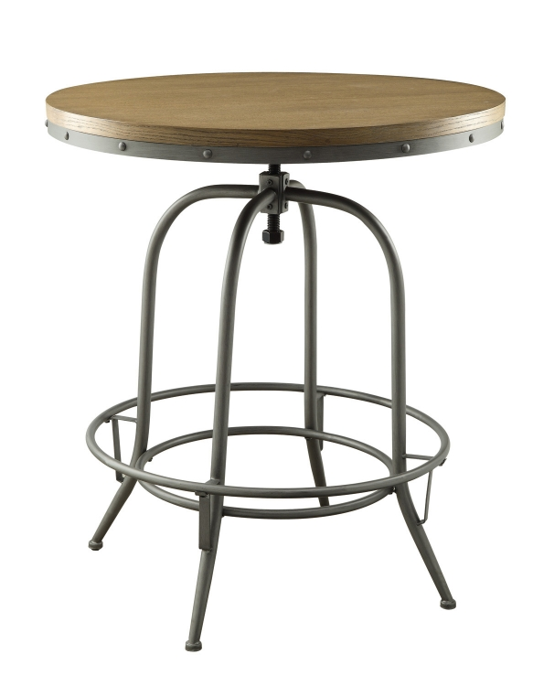 Transitional Adjustable Bar Table - Brown/Antique Black