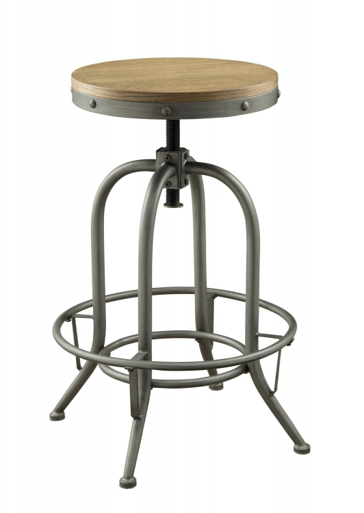 Transitional Adjustable Bar Stool - Brown/Antique Black