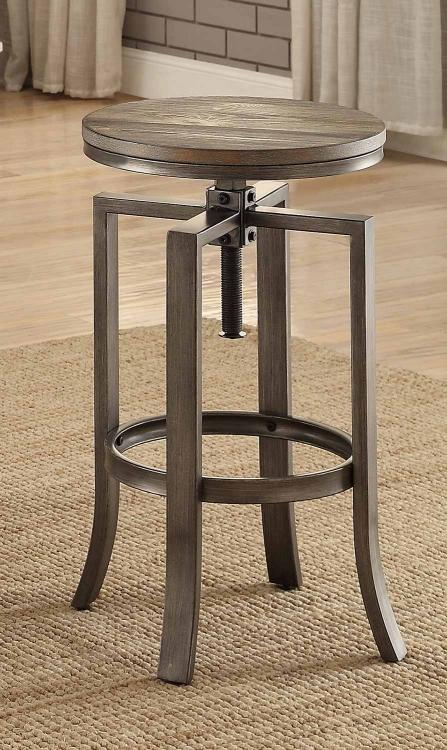 122101 Adjustable Bar Stool - Wire Brushed Nutmeg/Brushed Slate Grey