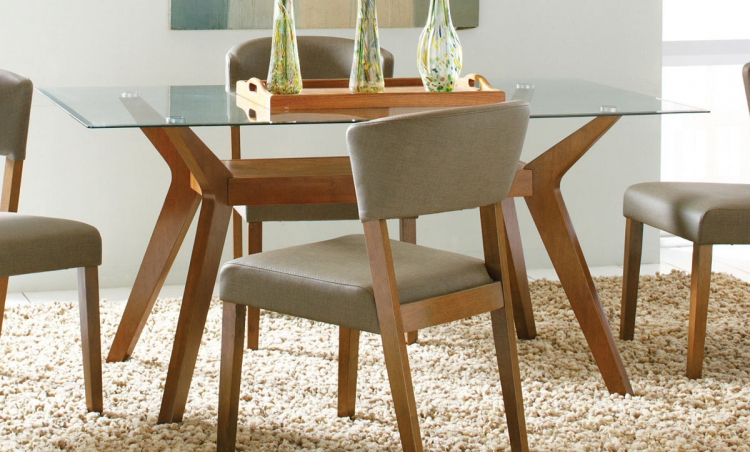 Coaster Paxton Glass Dining Table - Nutmeg