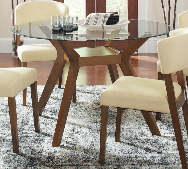 Coaster Paxton Round Glass Dining Table - Nutmeg