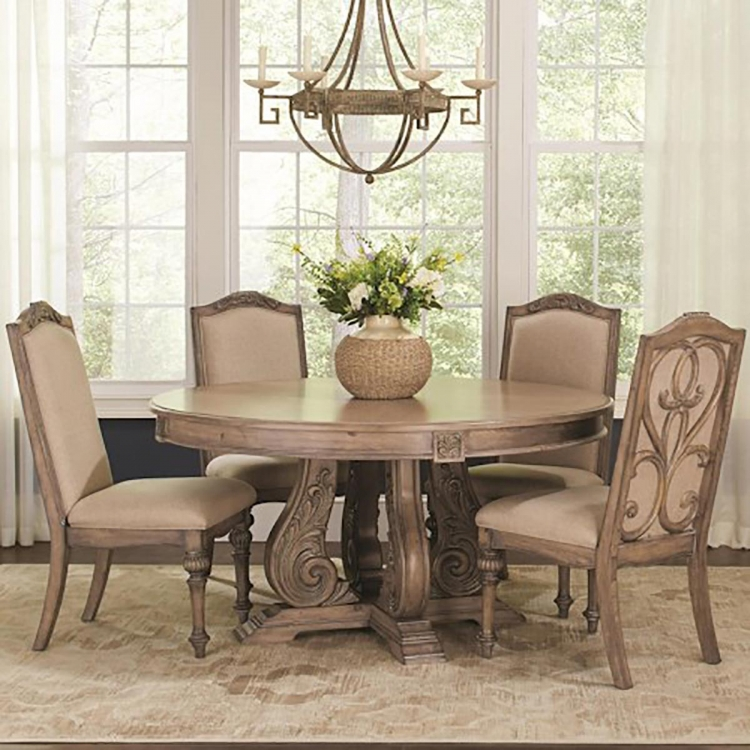 Iliana Round Dining Table - Antique Linen