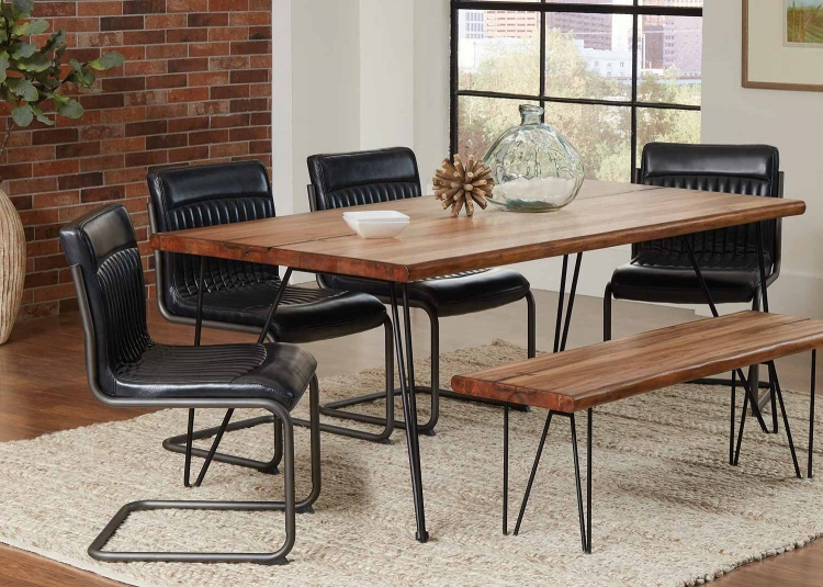 Chambler Rectangular Dining Set - Natural Honey/Gunmetal