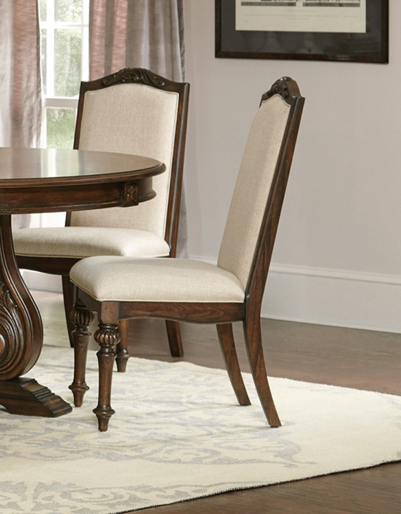 Ilana Side Chair - Antique Java/Cream Fabric