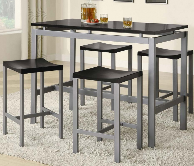 Atlas 5 Piece Counter Height Dining Set - Metal With Black Top